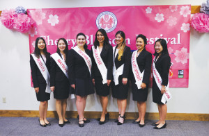 Candidates of the 2016 Northern California Cherry Blossom Queen Program (L to R): Breana Mayumi Inoshita, Kona Melissa Kawai, Jan Mitsuko Cash, Kyla Kajioka, Samantha Beth Tsukiji, Marisa Mari Sum and Nicole Kiyomi Harada. photo by William Lee