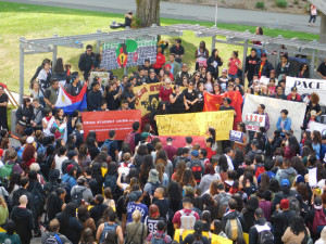 Students gather in San Francisco State University's quad  to protest the College of Ethnic Studies' budget.  	photo by Tomo Hirai/Nichi Bei Weekly