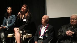 Gena Hamamoto, Stacey Hayashi and Nisei veterans Herbert Yanamura and Frank Higashi. photo by Kenji G. Taguma/Nichi Bei Weekly