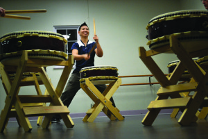 TEACHING TAIKO — Kristy Oshiro instructs class during the first of four beginning-level classes in Sacramento, Calif. photo by Heather Ito/Nichi Bei Weekly