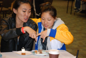 Lauren Morimoto and Tai Iwamasa judge the desserts. photo by Johnny Nagano