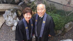 HEADING OUT — Rev. Patti and Rinban Bob Oshita are leaving the Sacramento Buddhist Church Betsuin after 32 years leading the congregation. photo by Cindy Kitade