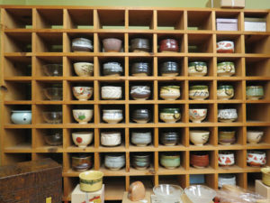 Asakichi specializes in Japanese tea ceremony supplies, its selection of hand-crafted tea bowls can serve a decorative purpose. photo by Tomo Hirai/Nichi Bei Weekly